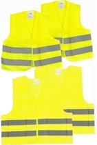 4x Veiligheidsvesten/hesjes geel voor volwassenen/kinderen