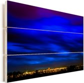 Wolken boven Brasilia in Zuid-Amerika Vurenhout met planken 90x60 cm - Foto print op Hout (Wanddecoratie)