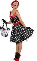 Zwarte rock en roll jurk met witte stippen 42 (xl)
