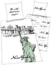 New York flanel dekbedovertrek Wit 1-persoons (140x200 cm + 1 sloop) (the city that never sleeps)