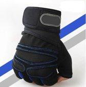Sporthandschoenen - Crossfit Gloves - Pols Grip & Fitness Handschoenen Heren - Large - Zwart/Blauw