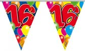 2x Leeftijd versiering vlaggenlijnen / vlaggetjes / slingers 16 jaar geworden thema 10 meter