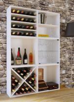 Vcm Wijnkast Wijnrek - 156 x 104 x 25 cm - Wit - 6 vakken - 60 flessen