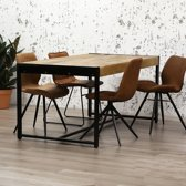 Dimehouse Vegas Eettafel - 220 x 90 cm - Industrieel - Hout - Zwart Metaal