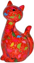 Pomme Pidou spaarpot kat Caramel - Uitvoering - Rood met flamingo's