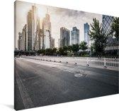 Prachtige rustige weg in Beijing Canvas 120x80 cm - Foto print op Canvas schilderij (Wanddecoratie woonkamer / slaapkamer)