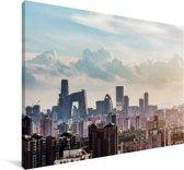 Zonsondergang in Beijing Canvas 140x90 cm - Foto print op Canvas schilderij (Wanddecoratie woonkamer / slaapkamer)