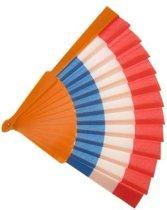 Waaier 27 cm rood-wit-blauw-oranje