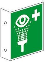 Haaks bord 'Oogdouche', ISO 7010, evacuatiepictogram