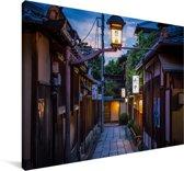 Straat in de oude wijk van Kioto in het Aziatische Japan Canvas 140x90 cm - Foto print op Canvas schilderij (Wanddecoratie woonkamer / slaapkamer) / Aziatische steden Canvas Schilderijen