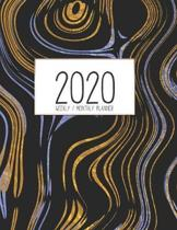 2020 Weekly Monthly Planner: Monthly Calendar - Weekly Organizer - Monday Start - Black, Gold, and Blue Swirl Cover - January 2020 - December 2020