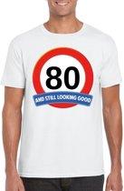 80 jaar and still looking good t-shirt wit - heren - verjaardag shirts XL