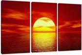 Art4-all Canvas schilderij Ondergaande zon in zee - 160x90cm
