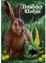 Anne Stokes Verjaardagskaar Hare and Sprite