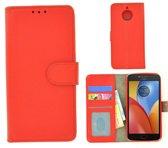 Rood Wallet Bookcase Fashion Hoesje voor Motorola Moto E4 Plus