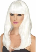 Halloween - Glow in the dark witte pruik lang haar