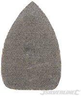 Silverline Driehoekige klittenband gaas schuurvellen, 150 x 100 mm, 10 Stuks 4 x 40, 4 x 80, 2 x 120 korrelgrofte