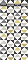 ESTAhome behang grafische driehoeken wit, zwart, grijs en okergeel