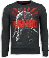 Local Fanatic Rambo - Rhinestone Sweater - Antraciet - Maten: M
