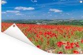 Rode klaprozen in het Engelse Nationaal park South Downs Tuinposter 120x80 cm - Tuindoek / Buitencanvas / Schilderijen voor buiten (tuin decoratie)