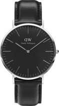 Daniel Wellington Classic Black Sheffield DW00100133 - Horloge - Leer - Zwart - Ø 40mm