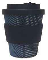Ecoffee Cup Kubrick - Bamboe Beker - 240 ml - met Donker Blauwe Siliconen