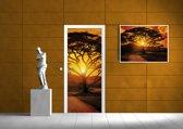 Deursticker Muursticker Zonsondergang | Bruin, Oranje | 91x211cm