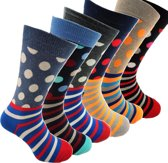 Gestipte Herensokken, Happy kleuren, Gekleurde Vrolijke socks, Vrolijke Stippensokken voor Heren en Mannen, Maat 40-45, Actieverpakking Sokken 6 paar