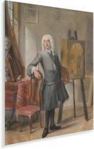 Zelfportret  - Schilderij van Cornelis Troost Plexiglas 30x40 cm - klein - Foto print op Glas (Plexiglas wanddecoratie)