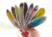 ProductGoods - 30x boekenlegger in verschillende veren vormen en kleuren