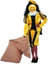 Zwarte piet zwart/geel imitatie fluweel voor volwassenen