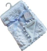 Soft Touch Babydeken Pompom 75 X 100 Cm Blauw