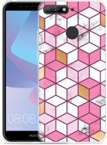 Huawei Y6 2018 Hoesje Pink-gold-white Marble