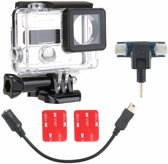 2 in 1 Waterdicht beschermings Housing hoesje Diving Box + External Mini Stereo MIC microfoon met 17CM 3.5mm to Mini USB 10 Pin Adapter Cable For voor GoPro HERO 4 / 3+ / 3, microfoon Grootte: 5.5 * 5.5 * 1.5cm