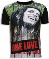 Local Fanatic Bob Marley One Love - Digital Rhinestone T-shirt - Zwart - Maten: S