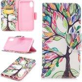 Let op type!! Gekleurde tekening patroon horizontale Flip lederen case voor Nokia 1 Plus  met houder & kaartsleuven & portemonnee (levensboom)