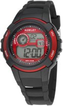 Nowley 8-6236-0-3 digitaal horloge 40 mm 100 meter zwart/ rood