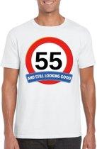 55 jaar and still looking good t-shirt wit - heren - verjaardag shirts XL