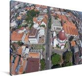 Luchtfoto van de straten van Semarang in Indonesië Canvas 180x120 cm - Foto print op Canvas schilderij (Wanddecoratie woonkamer / slaapkamer) XXL / Groot formaat!