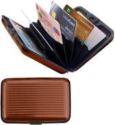 Premium Lichtgewicht Alu Wallet Portemonnee Pashouder - Bruin - | Portemonnees | Anti Skimming | Creditcardhouder | Geldknip | Pasjeshouder