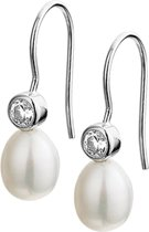 The Jewelry Collection Oorhangers Franse Haak Parel En Zirkonia - Zilver Gerhodineerd