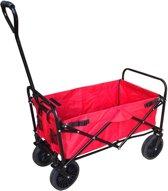 Bolderkar / Bolderwagen opvouwbaar rood met massieve wielen en opberghoes