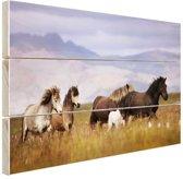 Paarden in de bergen Hout 160x120 cm - Foto print op Hout (Wanddecoratie) XXL / Groot formaat!