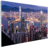 Hong Kong verlichting Glas 120x80 cm - Foto print op Glas (Plexiglas wanddecoratie)