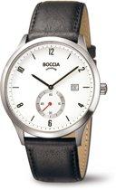 Boccia Titanium 3606-01 Horloge - Leer - Zwart - 42 mm