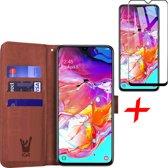 Samsung Galaxy A70 Hoesje + Screenprotector Full Screen - Book Case Portemonnee - iCall - Bruin