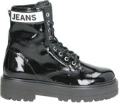 Tommy Jeans Patent Leather dames veterboot - Zwart - Maat 40
