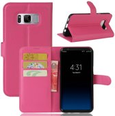 GSMWise - Samsung Galaxy S8 Plus - PU lederen TPU Portemonnee hoesje met Kaarthouder Lychee - Magenta Hot Pink