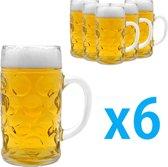 Eyzo 6 Bierpullen 500 ml - Oktoberfest Bierglazen Groot met Handvat
