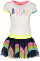 B-Nosy Meisjes jurken B-Nosy Girls rainbow dress, with sequinces multi 134/140